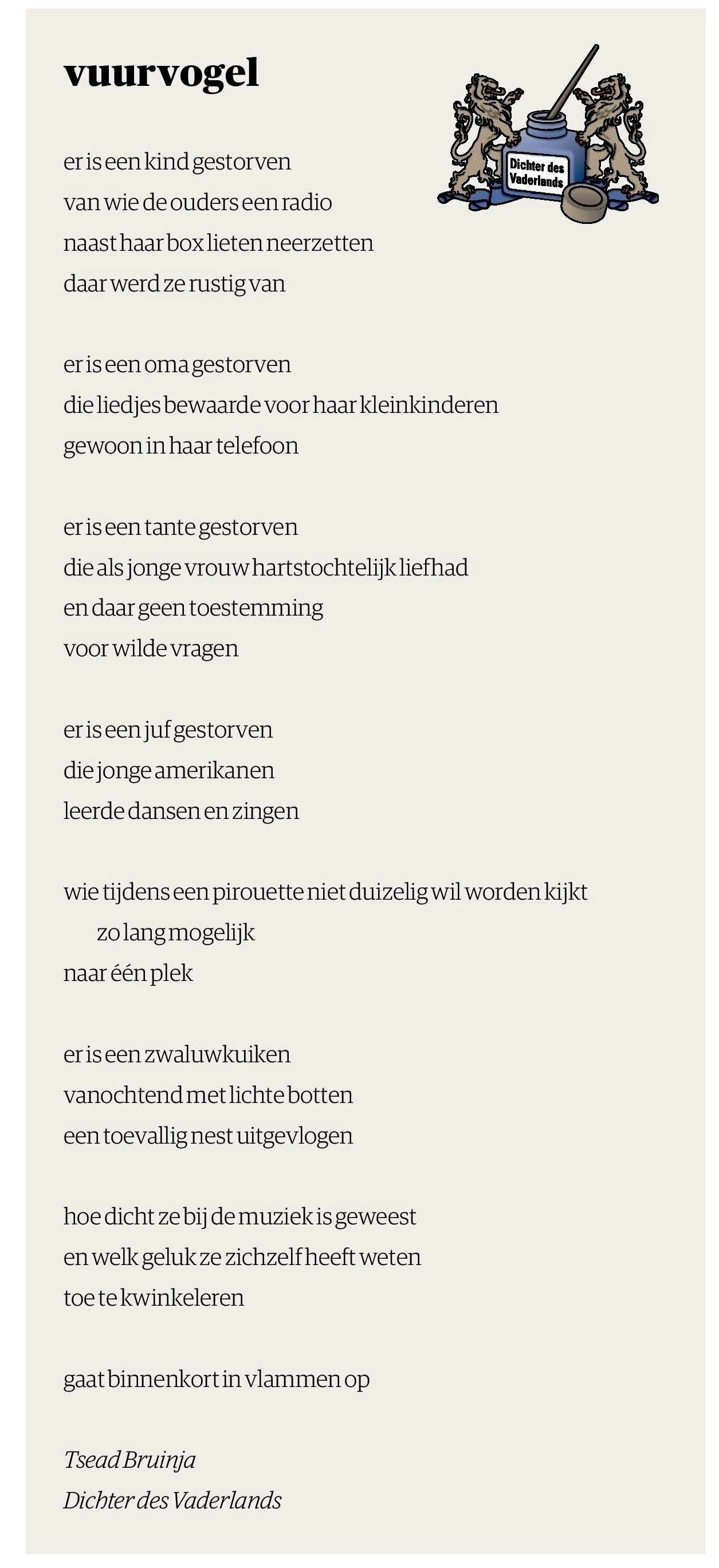 Wonderbaar Vuurvogel - gedicht bij de dood van prinses Christina - Tsead Bruinja LW-63